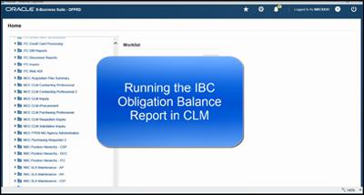 Using the Obligation Balance Report in CLM